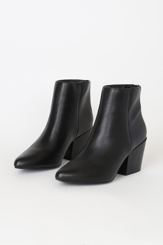 Brya Black Pointed-Toe Ankle Booties