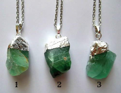 Silver natural raw fluorite necklaces bright green