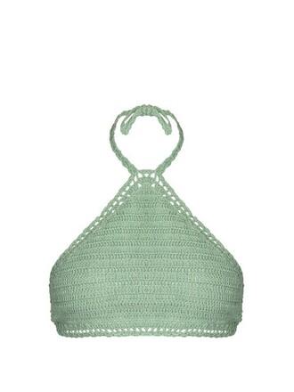 bikini bikini top crochet bikini crochet light green swimwear
