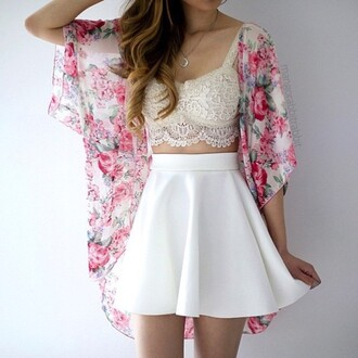 cardigan floral jacket white lace tank top white skirt