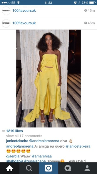 jumpsuit yellow jumpsuit solange knowles silk satin