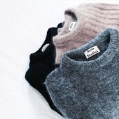 sweater,acne studios,knitted sweater,basic,fluffy,neutral,jumper,tumblr,cute,crewneck