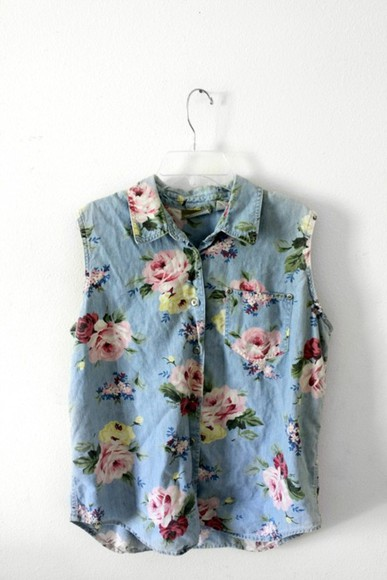 button up blouse blouse shirt floral sleeveless flowers denim button up button up shirt floral denim collared top sleeveless shirt top floral top floral button down button down vintage