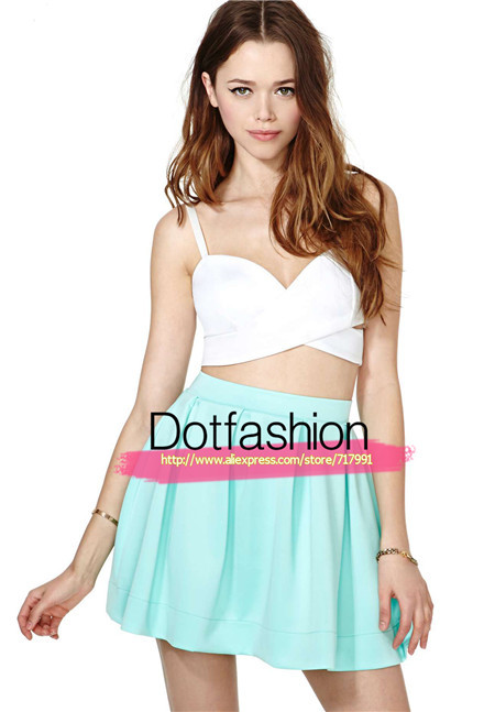 2014 Hot Sale Women's Fashion Stylish New Designer Cute Novelty Women Casual Bright Mint Pleated Scuba Skater Skirt-in Skirts from Apparel & Accessories on Aliexpress.com