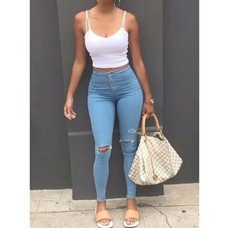 jeans high waisted jeans blue jeans light blue jeans ankle length jeans tank top white white top blue light blue tan ripped jeans ripped high waisted streetwear streetstyle casual casually outfit bag cute skinny jeans knee ripped jeans shirt