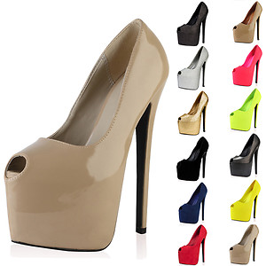 PEEP TOE LADIES PLATFORM 7 INCH HIGH STILETTO HEEL COURT SHOES ...