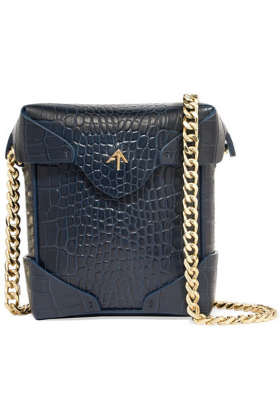 bag shoulder bag leather navy