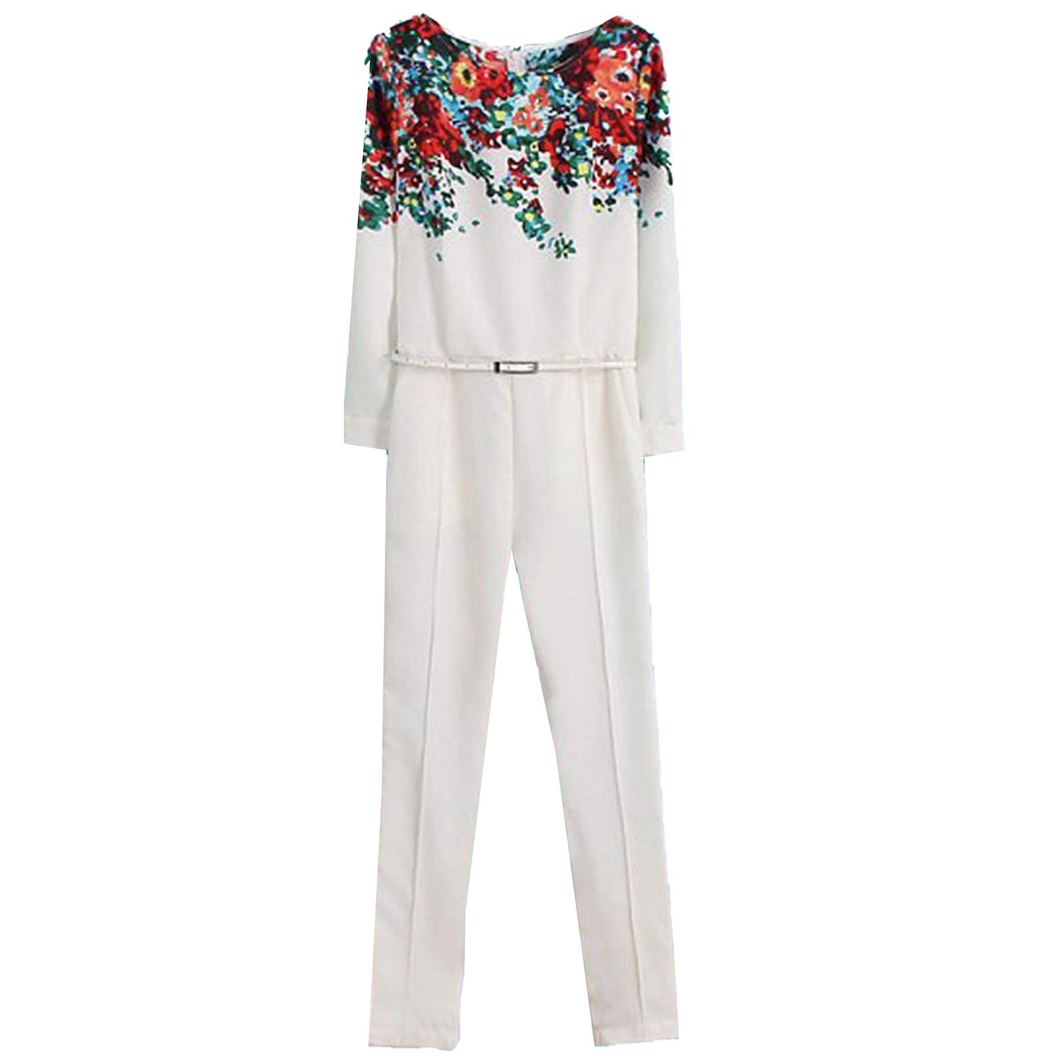 Amazon.com: finejo new womens white round neck long sleeve floral pattern slim jumpsuits: clothing