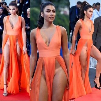 dress orange slit dress maxi dress red carpet dress gown