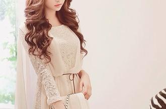 dress sweetheart dress high-low dresses gorgeous cream lace dress lace top shorts brunette