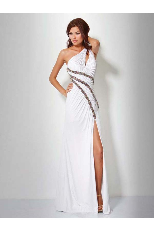 Vintage Sheath/Column One Shoulder Chiffon White Long Prom Dresses/Evening Dress With Beading