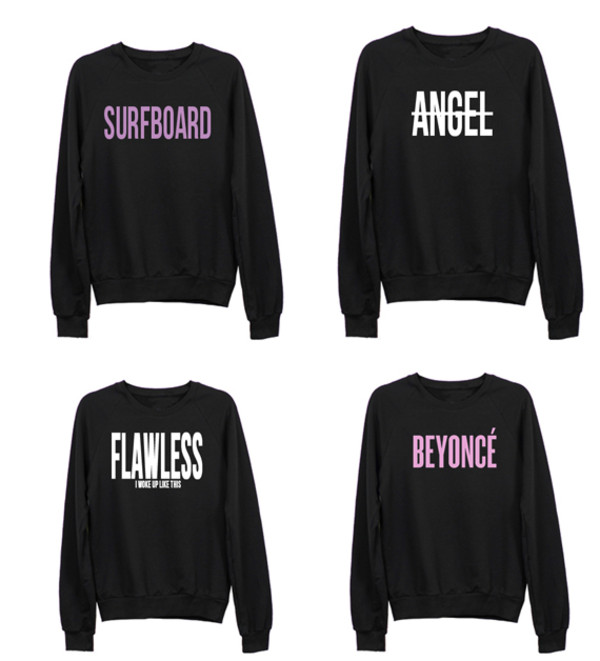sweater angel surf flawless beyonce i woke up like this black sweatshirt