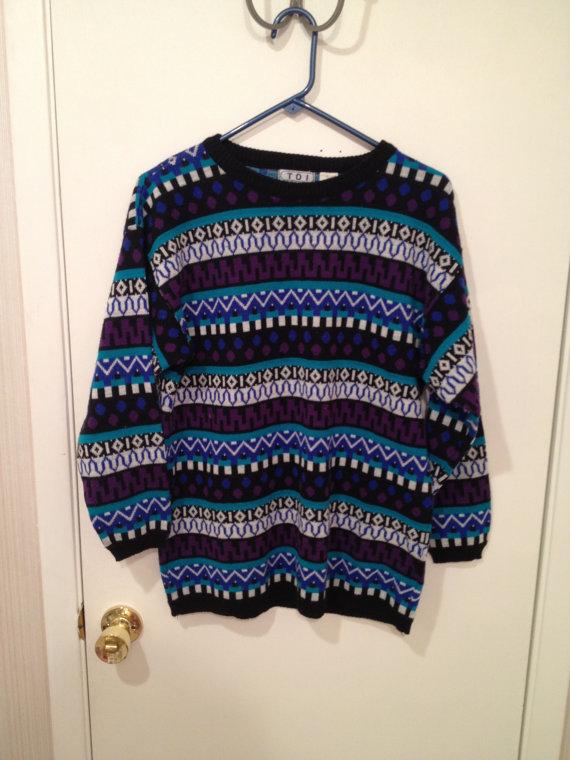 Sale vintage crazy patterned hipster grunge sweater by sashashorts