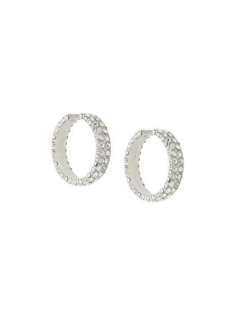 Magda Butrym metal women embellished earrings hoop earrings grey metallic jewels