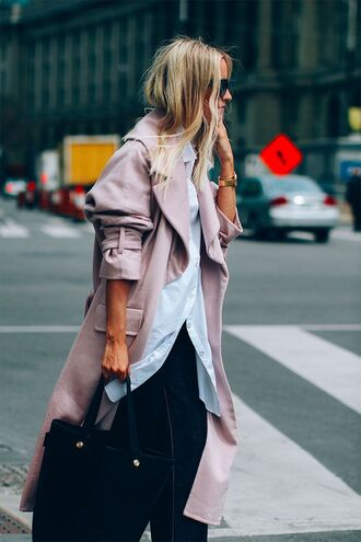 coat tumblr pink coat shirt oversized oversized shirt white shirt pants bag black bag fall outfits