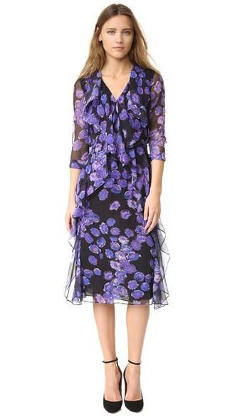 dress long sleeve dress chiffon long floral black
