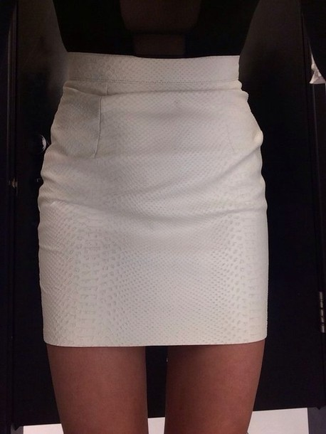 Skirt: white, snake skin, high waisted skirt, white skirt, bodycon ...
