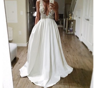 dress prom dress white dress white prom dress ellegan formal dress designer white v neck dress embroidery embroidery wedding dresses embroidery white long gown satin dress lace dress formal long dress