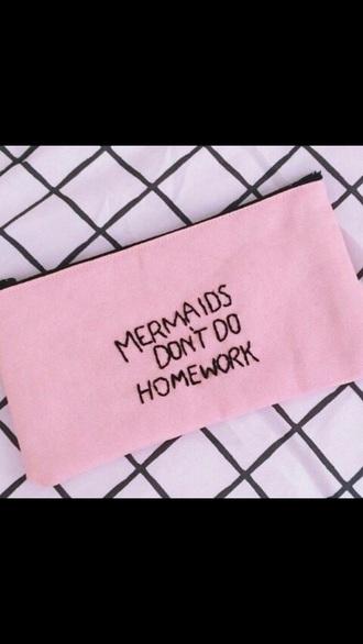 bag pencil case back to school girly accessories pink mermaid homework