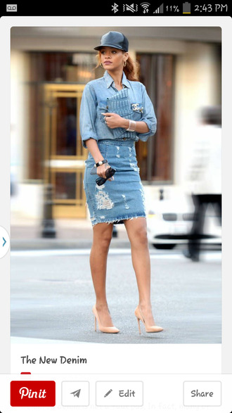 skirt denim heels ripped rihanna shoes denim skirt pencil skirt ripped skirt shirt denim shirt blue shirt blue skirt pumps pointed toe pumps sunglasses black sunglasses celebrity bag blue bag baseball cap cap black cap