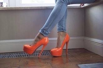 shoes high heels orange crystal pumps heels hight heels red sole shiny sparkle
