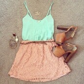 shirt,floral,tank top,skirt,jupe,rose,pink,dentelle,summer,turquoise,beige,lace skirt,lace floral skirt,creamy pink,outfit,cute,beautiful,girl,heels,shoes,bracelets,top,blue,flowers,blouse,green tank top,high heels,crop tops,tumblr outfit,girly outfits tumblr,weheartit,mint