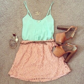 shirt floral tank top skirt jupe rose pink dentelle summer turquoise beige lace skirt lace floral skirt creamy pink outfit cute beautiful girl heels shoes bracelets top blue flowers blouse green tank top high heels crop tops tumblr outfit girly outfits tumblr weheartit mint