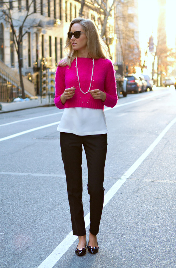 the classy cubicle sweater blouse pants shoes jewels sunglasses