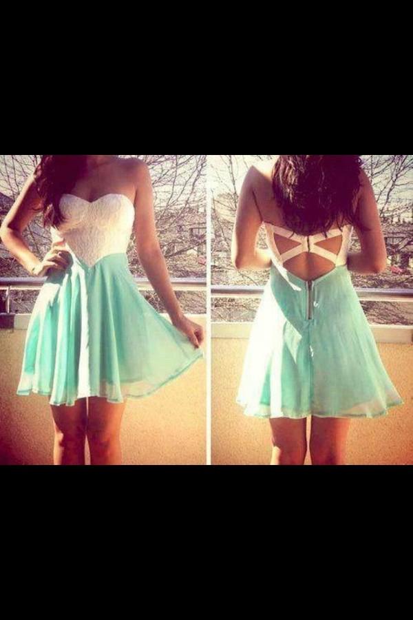 dress mint white cute dress