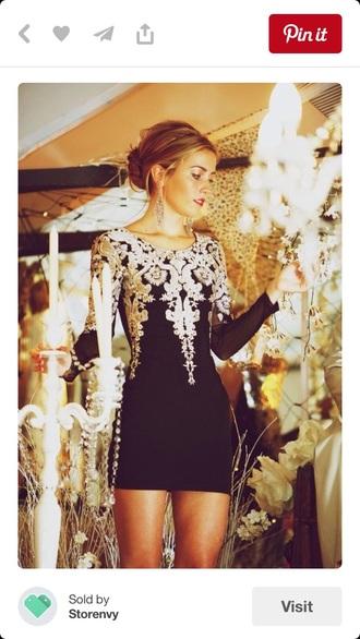 dress embroidered black vintage dress