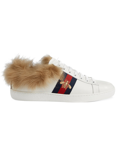 gucci fur women leather white shoes