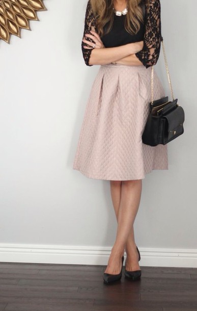 Skirt: midi skirt, pink skirt, black lace top, blouse - Wheretoget