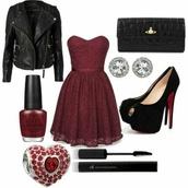 dress,jacket,fashion,outfit,girly,black,rock,girly dress,black heels,jewels,shoes,burgundy dress,black leather jacket,biker jacket,louboutin,vivienne westwood,swarovski,mascara,nails,elegant,polyvore,red,heels,ring,jewelry,wallet,leather jacket,black jacket,red dress