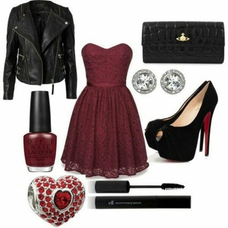 dress jacket fashion outfit girly black rock girly dress black heels jewels shoes burgundy dress black leather jacket biker jacket louboutin vivienne westwood swarovski mascara nails elegant polyvore red heels ring jewelry wallet leather jacket black jacket red dress
