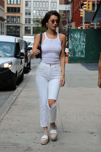 jeans top white tank top tank top streetstyle model off-duty bella hadid