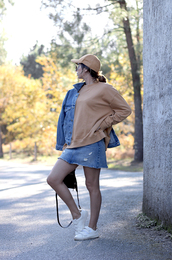sweater,tumblr,camel top,camel,cap,skirt,mini skirt,denim skirt,sneakers,low top sneakers,white sneakers,jacket,blue jacket,denim jacket,sweatshirt,beige baseball hat,hat