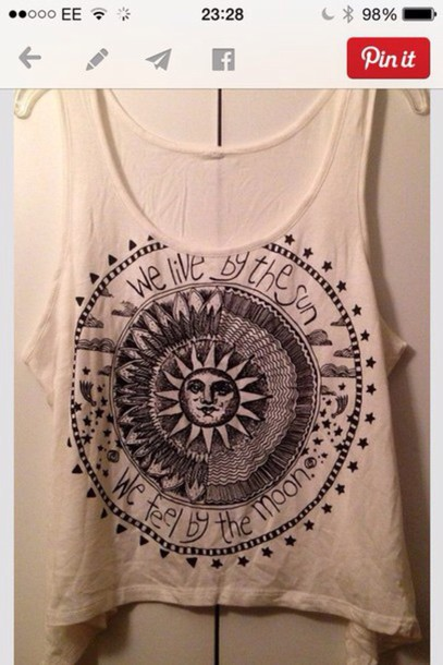 tank top boho hippie top ank bohemian summer sun moon crop tops hippie shirt hippie boho shirt bohostyle sun&moon