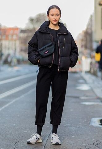 jacket black puffer jacket black trousers white sneakers black fanny pack blogger