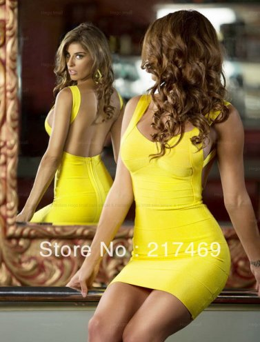 2014 Sexy Herve Leger Yellow Backless Bandage Dress Sale [Herve Leger Yellow Backless Dress] - $168.00 : 2014 Discount Herve Leger Outlet Online Store