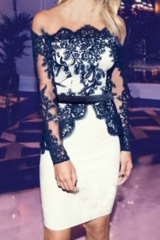 dress lace black white elegant fancy long sleeves sexy party prom fashion outfit style feminine