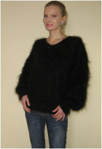 blouse hand knit made black sweater jumper v neck supertanya soft fluffy angora wool