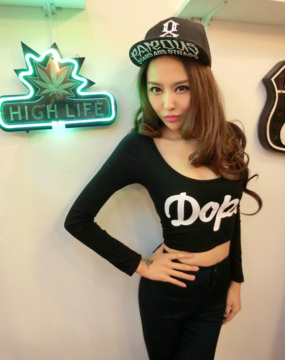 women 2013 Stampd la dope big collar short crop top design slim long sleeve T shirt-inT-Shirts from Apparel & Accessories on Aliexpress.com