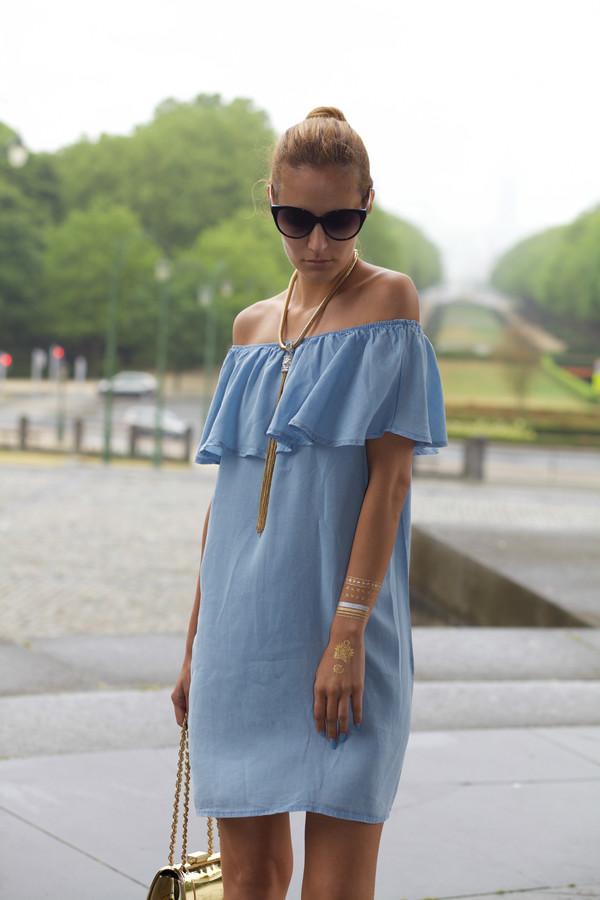 dress, ruffled overlay, denim dress, off the shoulder