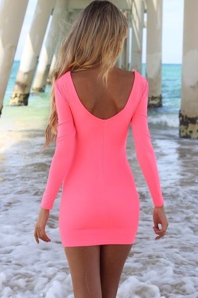 Dress: neon, pink, bodycon, beach, long sleeves, short, hot, pink ...