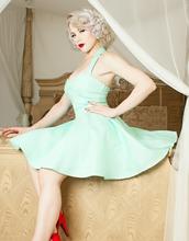dress,mint blue,50s dresses,50s dress,halter dress,baby blue,mint blue dress,50s style,tiffany blue,mint