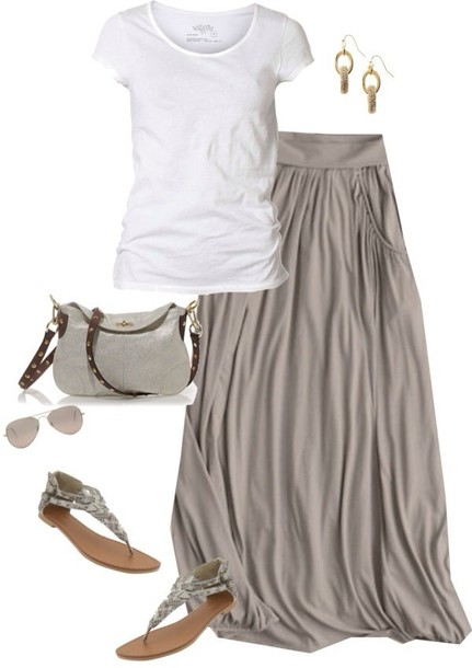 skirt grey maxi loose flowing flows maxi skirt taupe spring outfits