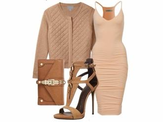 dress nude jacket nude nude dress sandal heels clutch jacket bag shoes