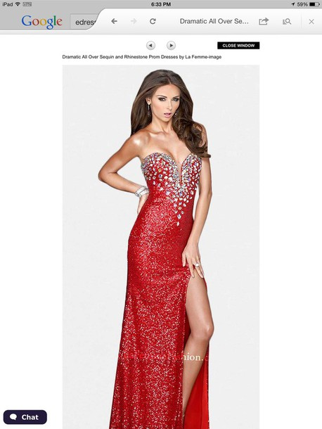 dress prom dress glitter party red dress sequenced dress jewels
