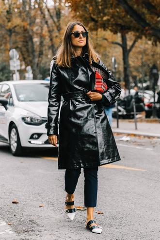 coat tumblr black coat leather coat streetstyle pants blue pants shoes flats white shoes