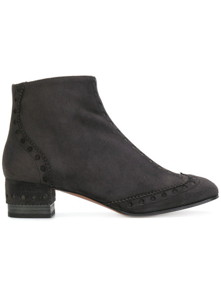 Chloe women leather suede black shoes